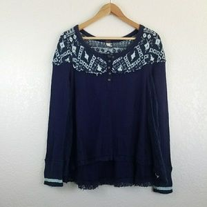 Free People Navy Button Down Thermal Sweater